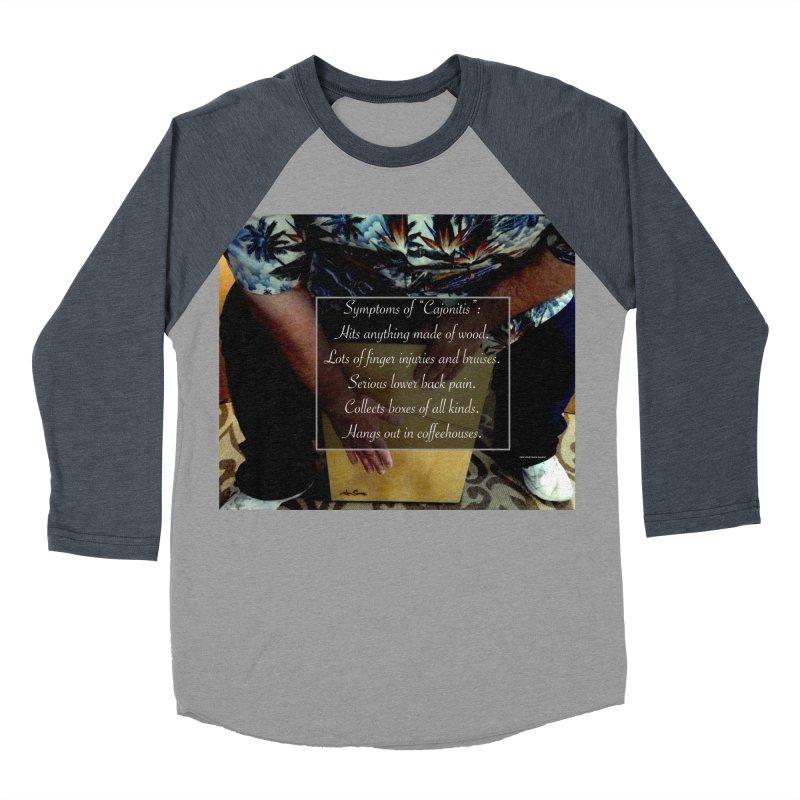 """Symptoms of """"Cajonitis"""" Men's Baseball Triblend Longsleeve T-Shirt by EdHartmanMusic Swag Shop!"""