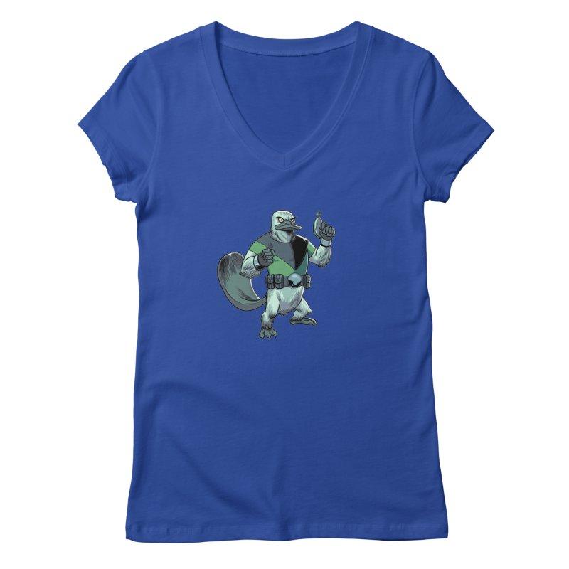 Shirt of the Month June 2017: Platypus Rex Women's V-Neck by edisonrex's Artist Shop