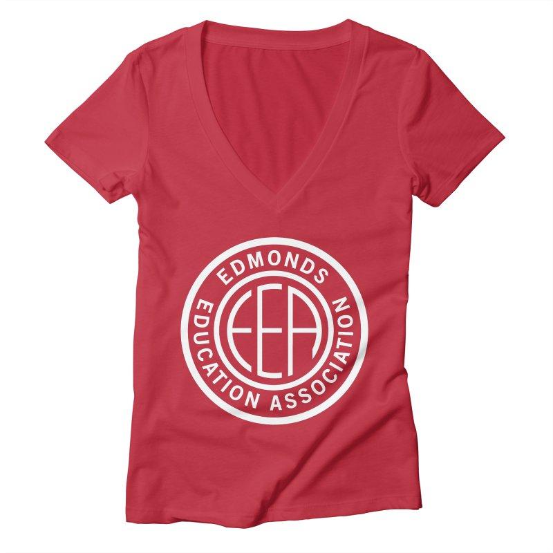 Edmonds EA Seal White-Full Size Women's Deep V-Neck V-Neck by Edmonds Education Association Swag Shop