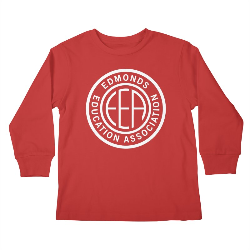 Edmonds EA Seal White-Full Size Kids Longsleeve T-Shirt by Edmonds Education Association Swag Shop