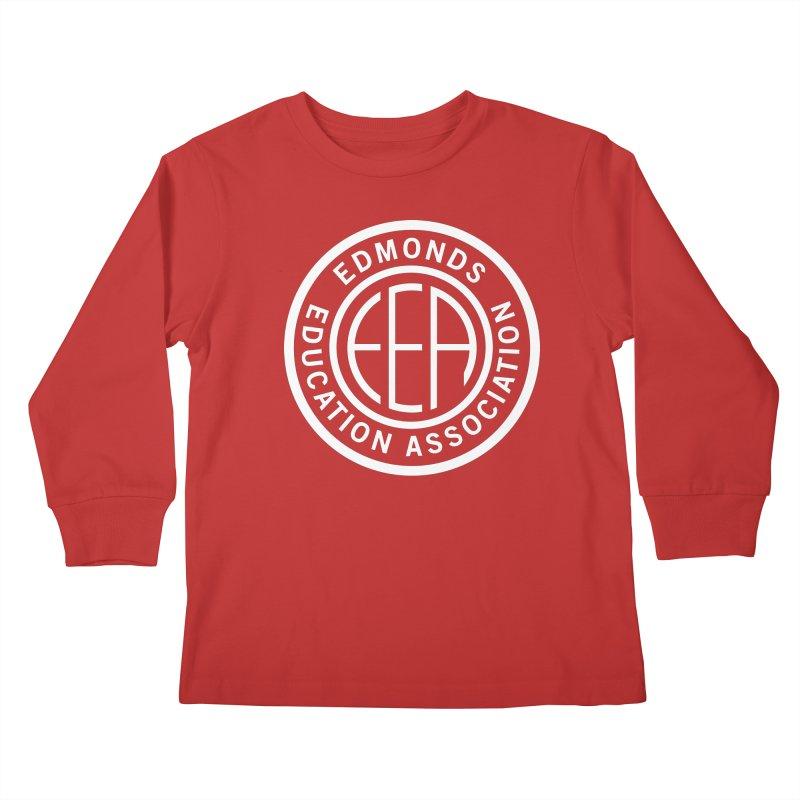 Edmonds EA Seal White-Full Size Kids Longsleeve T-Shirt by Edmonds Education Association Swag Shop