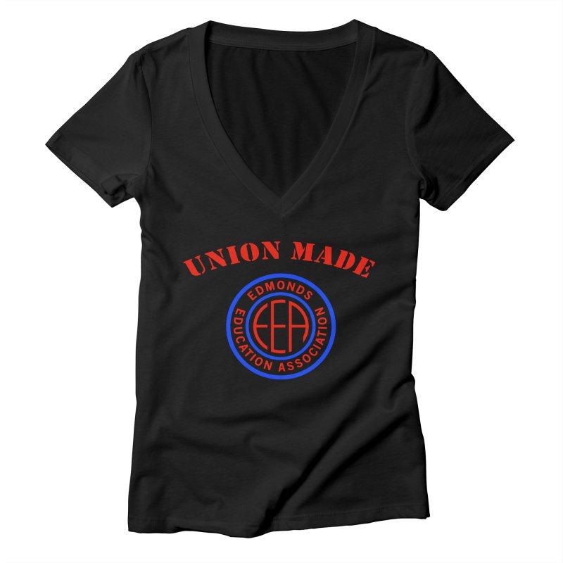 Edmonds EA Seal-Union Made Women's Deep V-Neck V-Neck by Edmonds Education Association Swag Shop