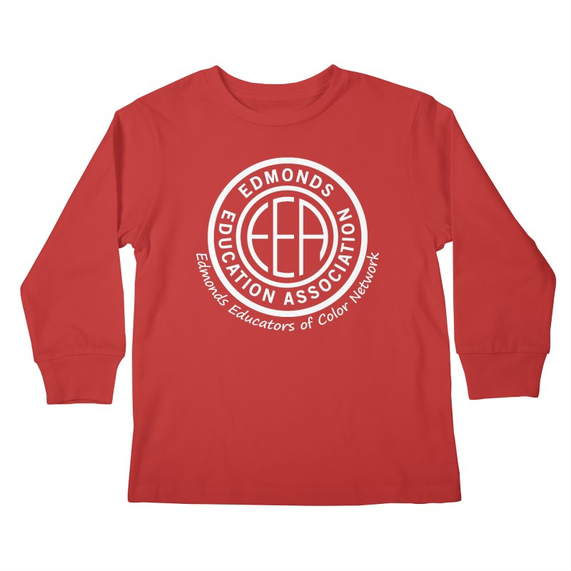 Edmonds EA Seal White-Edmonds Educators of Color Network Kids Longsleeve T-Shirt by Edmonds Education Association Swag Shop