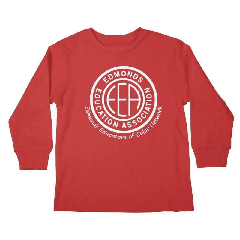 Edmonds EA Seal White-Edmonds Educators of Color Network Kids Longsleeve T-Shirt by Edmonds Education Association Swag Shop
