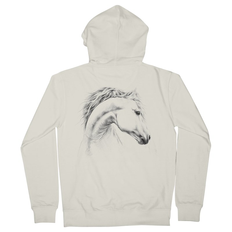 Horse Men's French Terry Zip-Up Hoody by edrawings38's Artist Shop