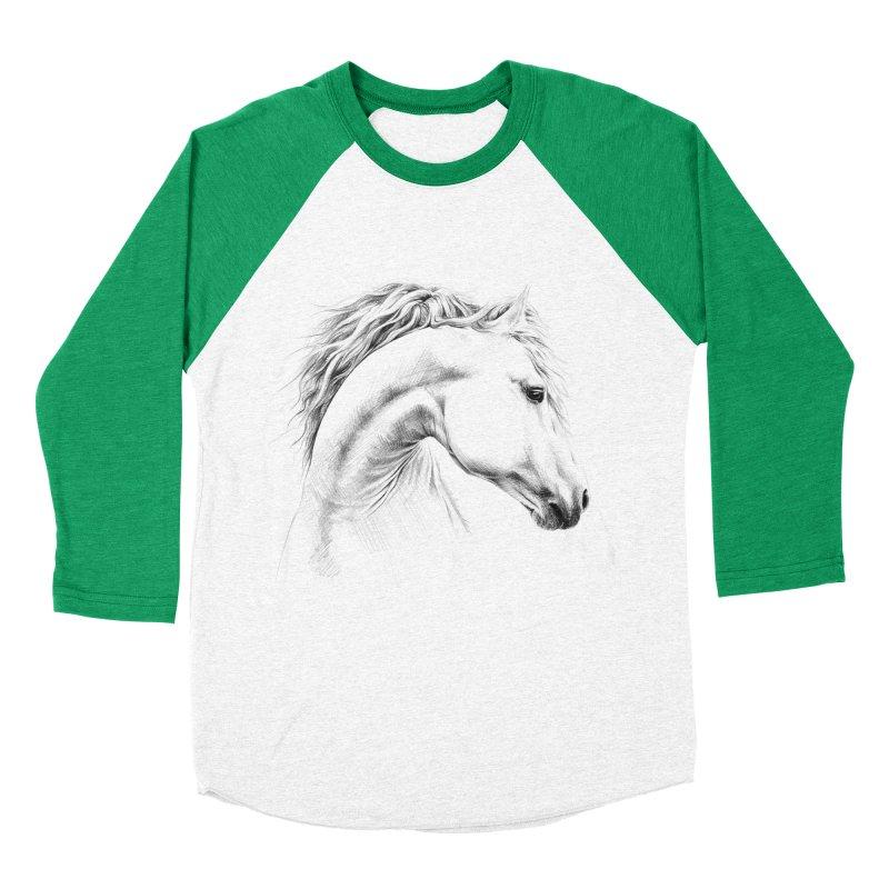 Horse Women's Baseball Triblend Longsleeve T-Shirt by edrawings38's Artist Shop