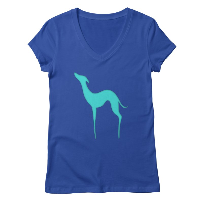 Greyhound dog silhouette Women's Regular V-Neck by edrawings38's Artist Shop