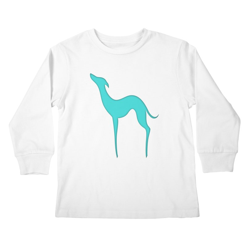 Greyhound dog silhouette Kids Longsleeve T-Shirt by edrawings38's Artist Shop