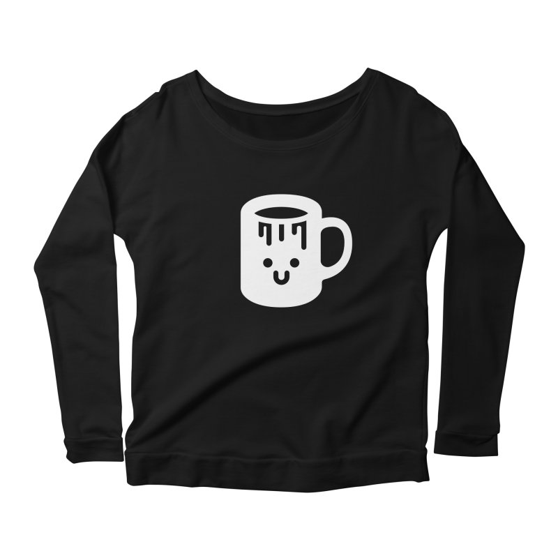 Clumsy Coffee Cup (Dark) Women's Longsleeve Scoopneck  by Ed's Threads