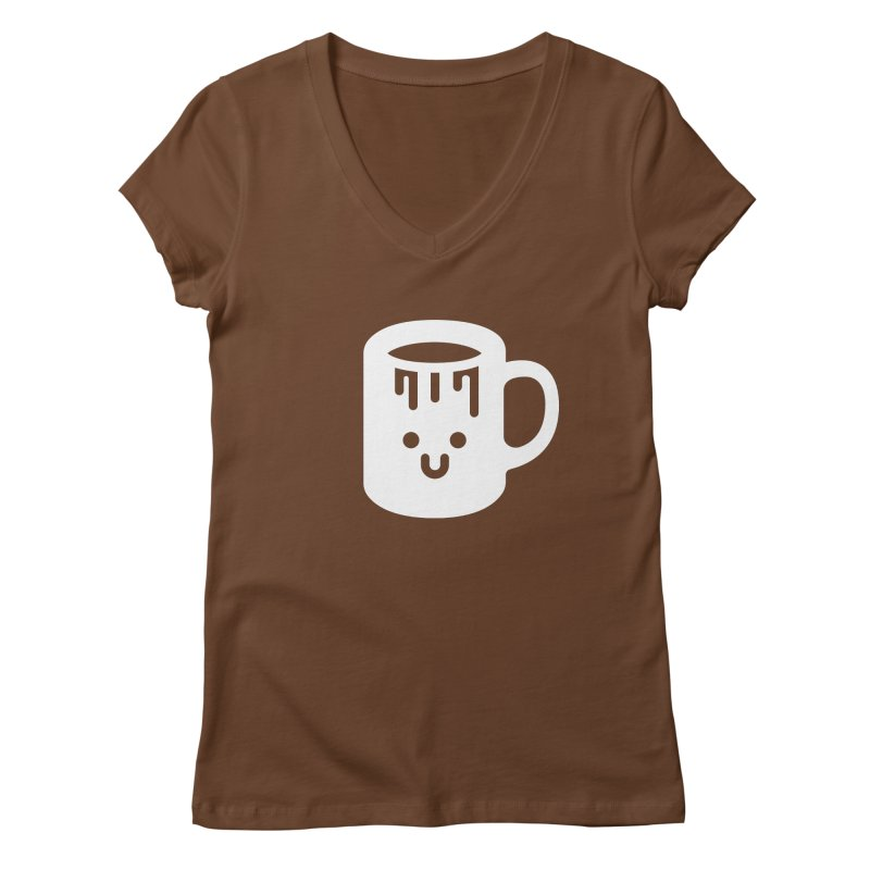 Clumsy Coffee Cup (Dark) Women's Regular V-Neck by Ed's Threads