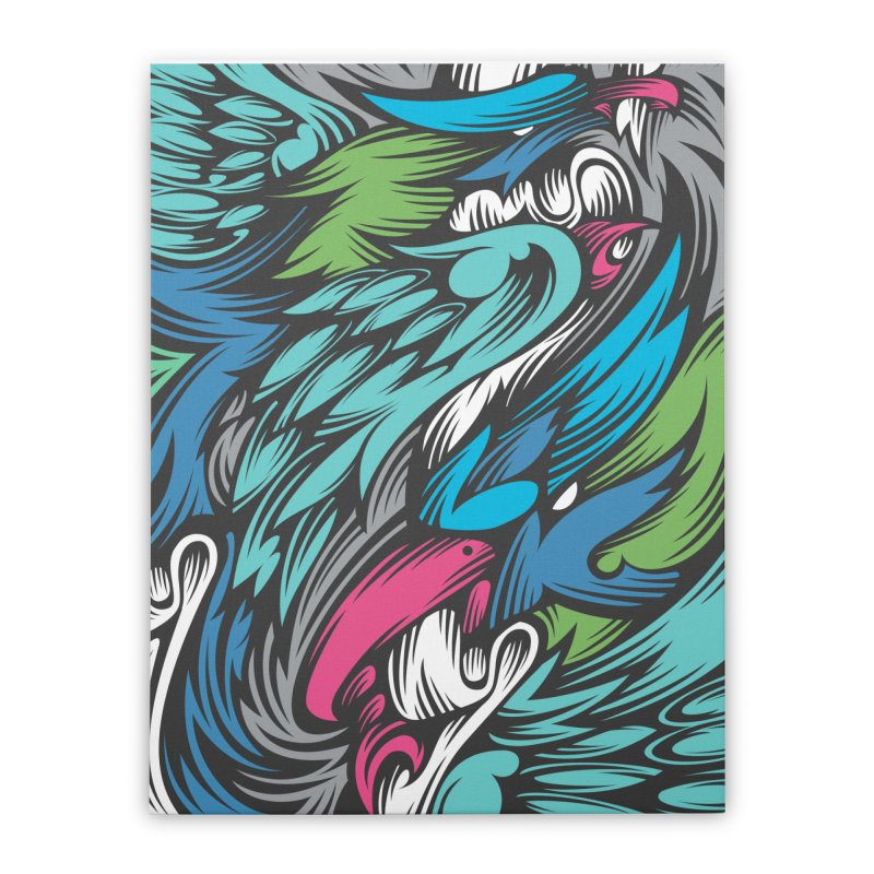 Colourful birdies bite a ribbon in Stretched Canvas by educastellanos