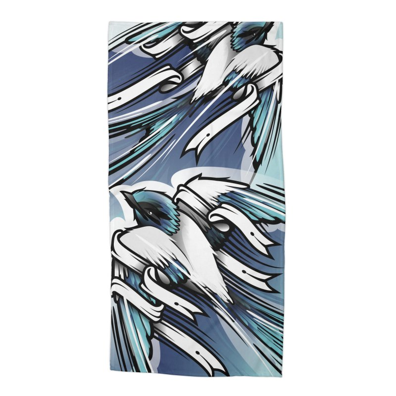 2 blue Swallows in Beach Towel by educastellanos