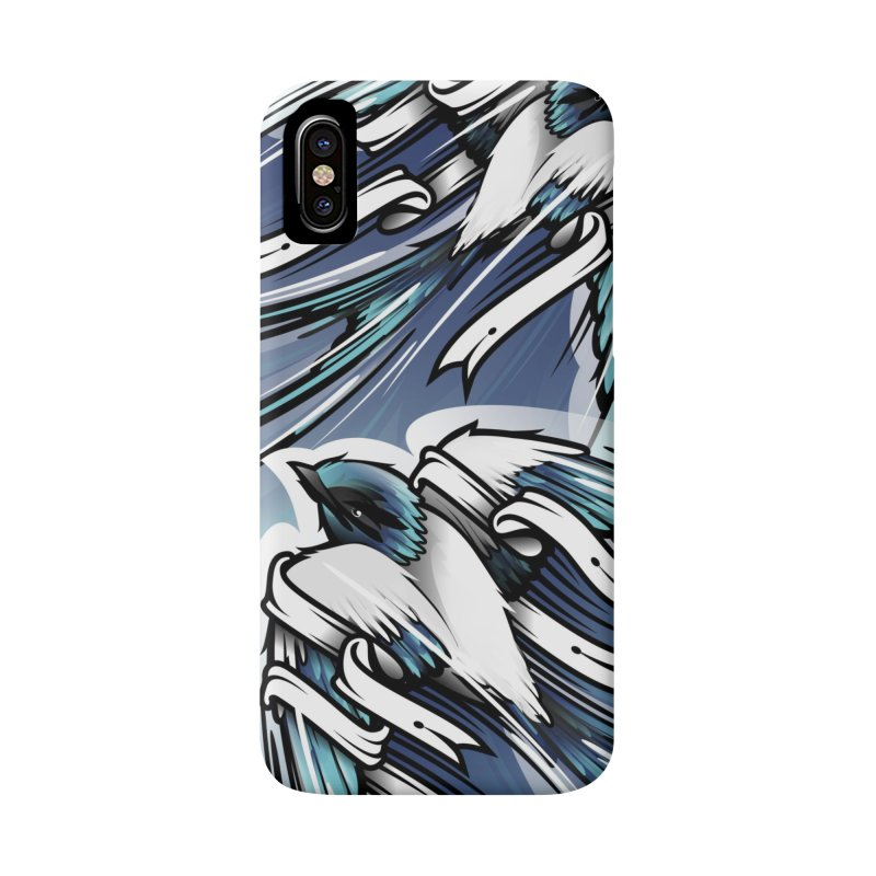 2 blue Swallows in iPhone X Phone Case Slim by educastellanos