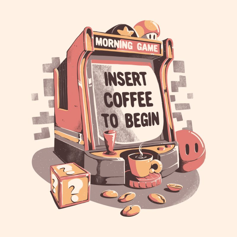 Insert Coffee To Begin - Cute Coffee Gamer Gift Kids T-Shirt by eduely's Artist Shop