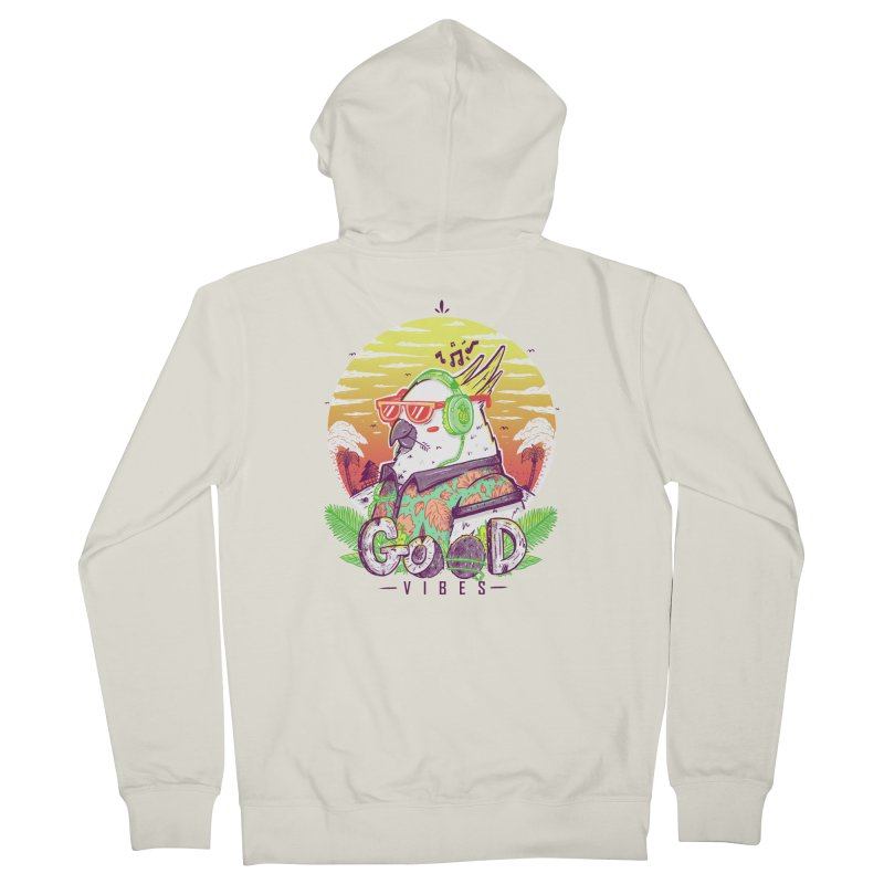 Polly Wants Some Good Vibes! Men's French Terry Zip-Up Hoody by effect14's Artist Shop