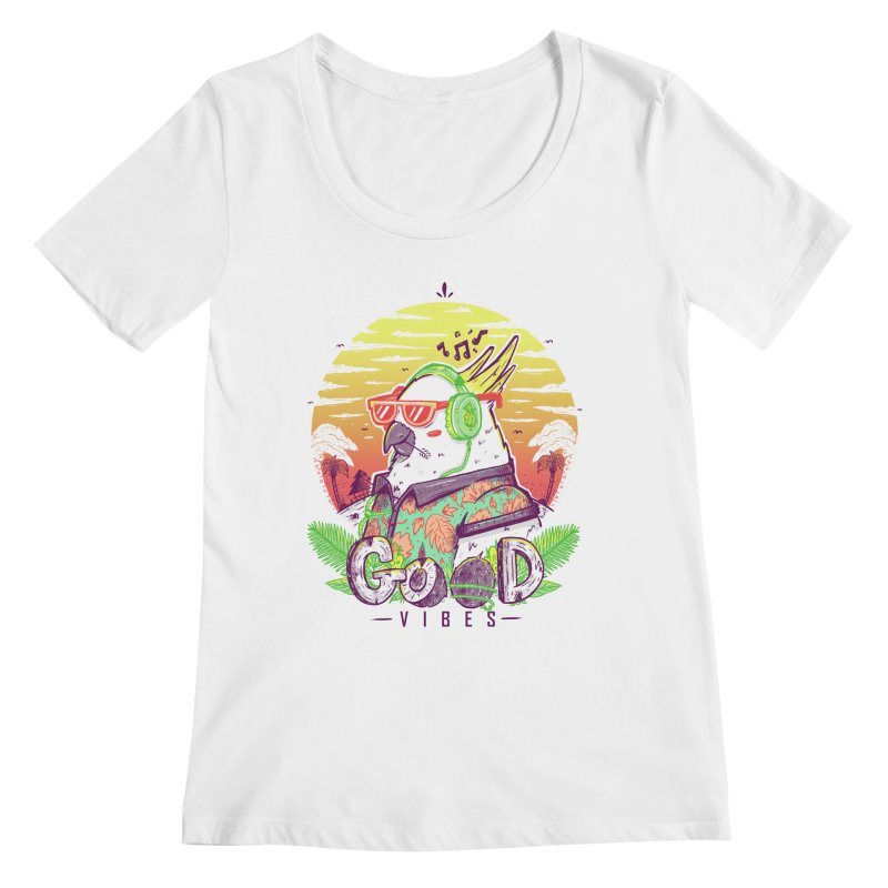 Polly Wants Some Good Vibes! Women's Scoopneck by effect14's Artist Shop