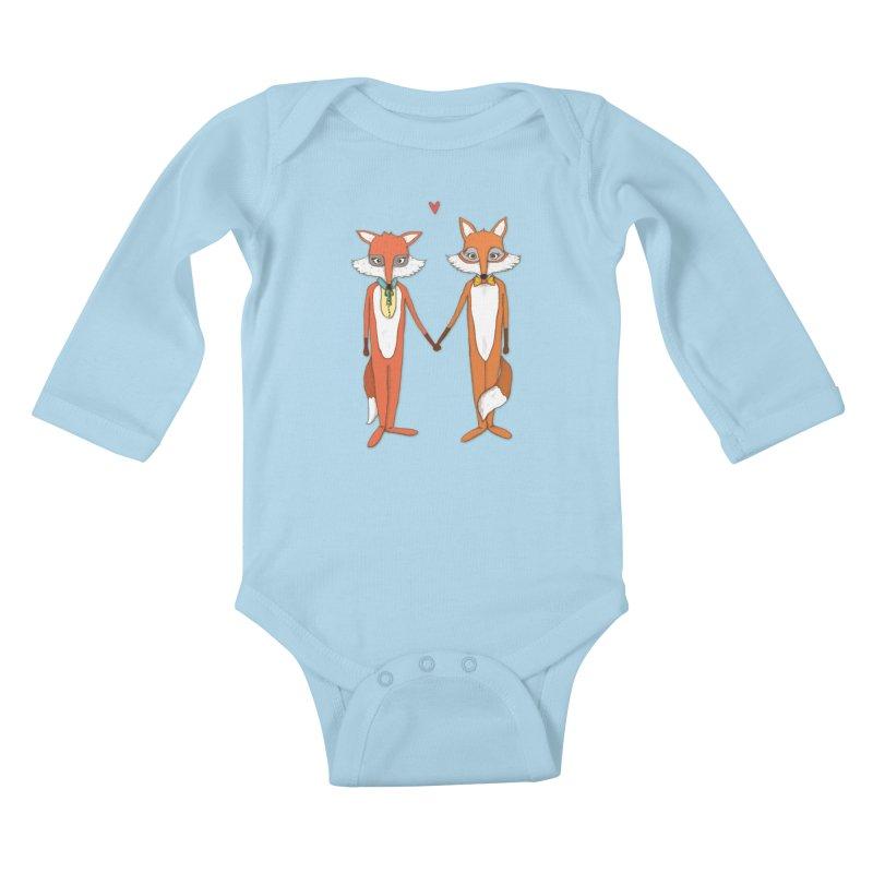 Fox  Kids Baby Longsleeve Bodysuit by Eggplantation's Artist Shop