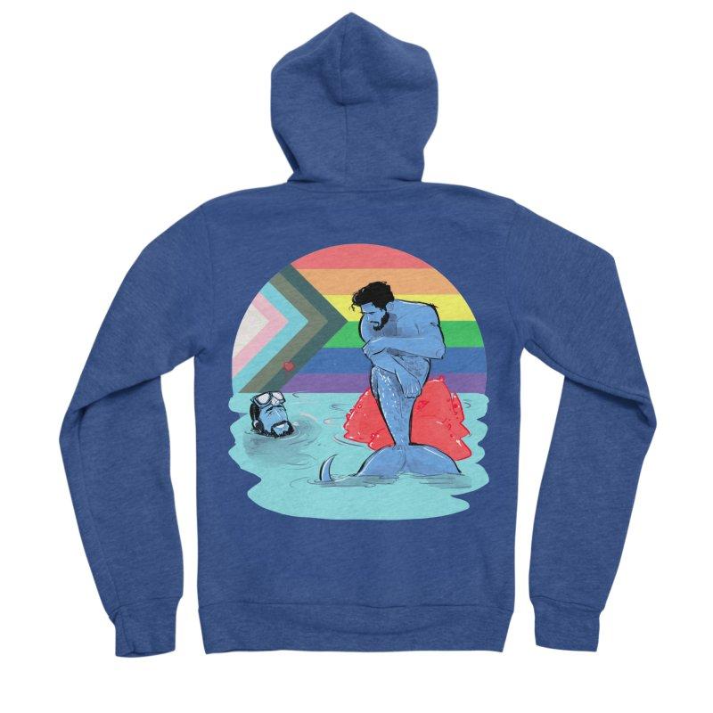 Mer Love Pride Men's Sponge Fleece Zip-Up Hoody by Ego Rodriguez