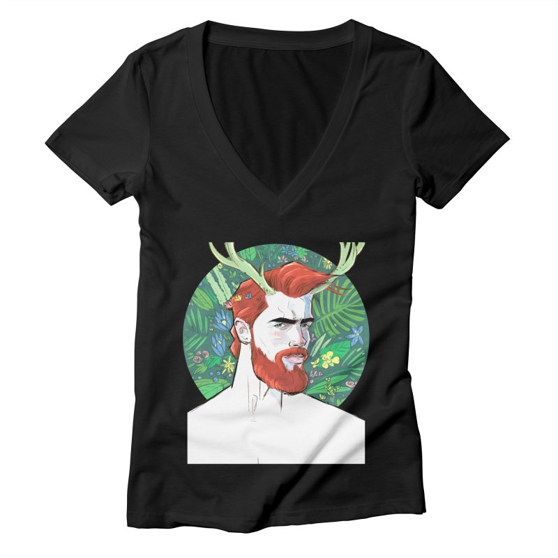 Cernunnos Women's V-Neck by Ego Rodriguez