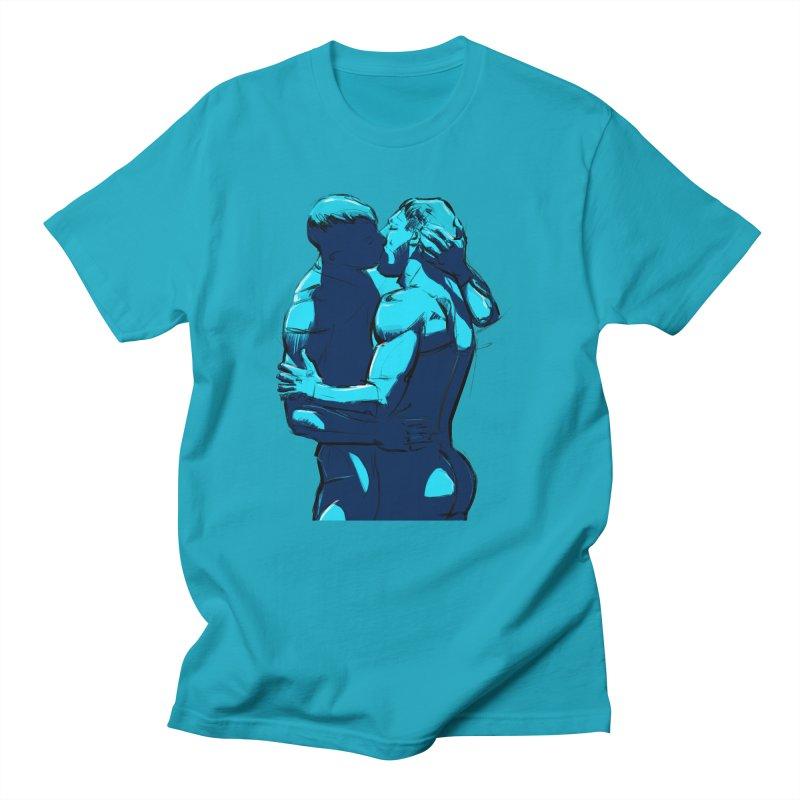 Kiss in Men's T-shirt Cyan by Ego Rodriguez's Shop