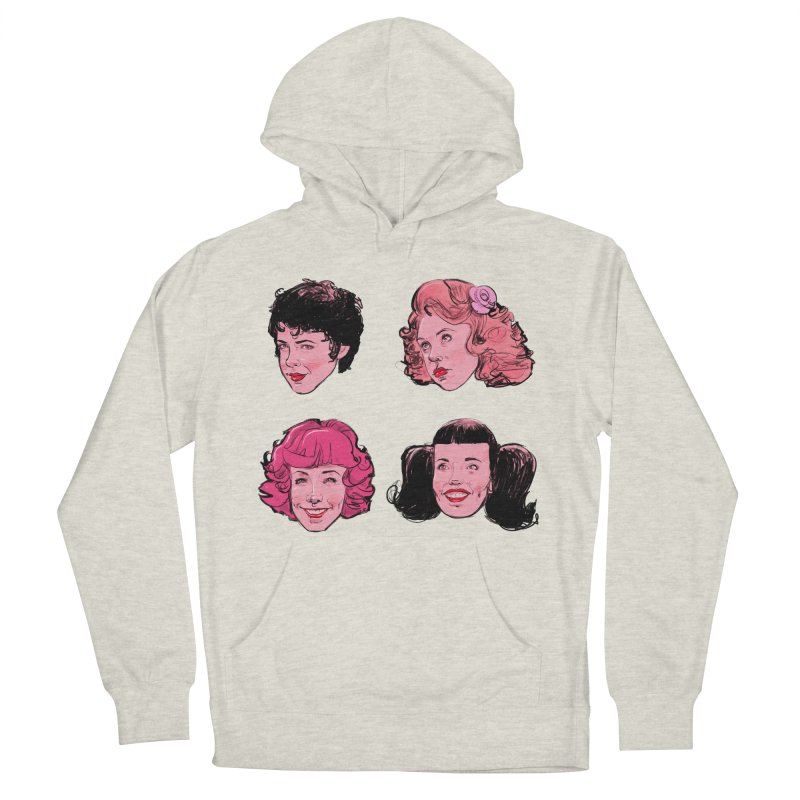 Pink Ladies in Men's French Terry Pullover Hoody Heather Oatmeal by Ego Rodriguez