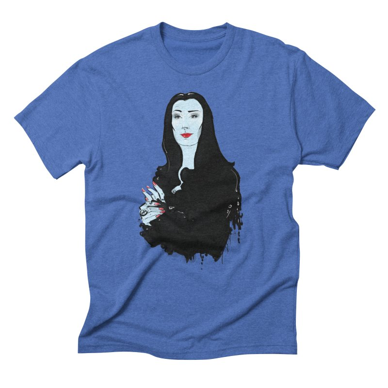 Morticia in Men's Triblend T-Shirt Blue Triblend by Ego Rodriguez