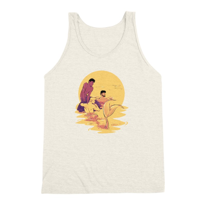 Waiting in Men's Triblend Tank Heather Oatmeal by Ego Rodriguez