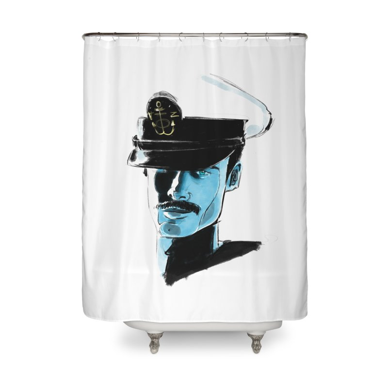 Captain Home Shower Curtain by Ego Rodriguez