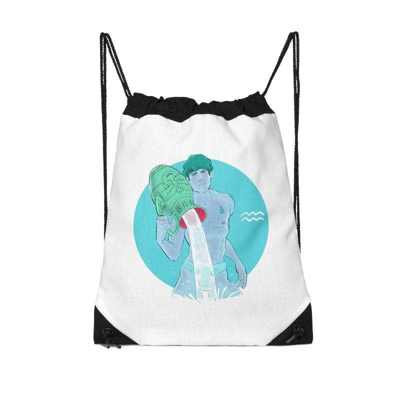 Aquarius Accessories Drawstring Bag Bag by Ego Rodriguez