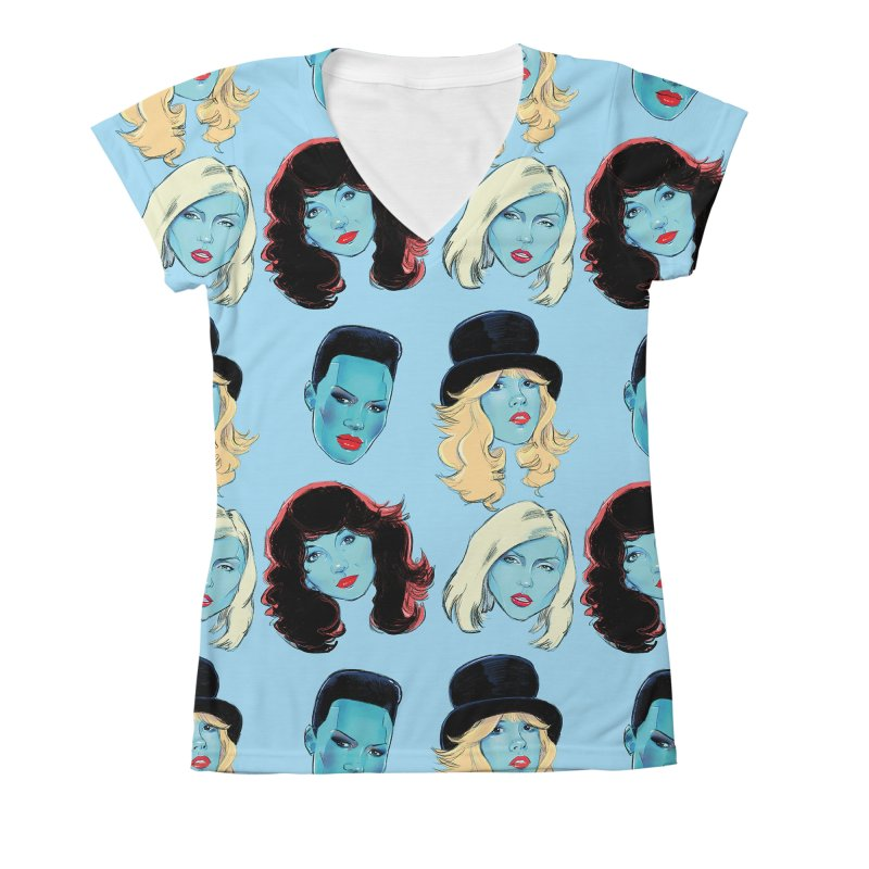 Iconic Women's V-Neck All Over Print by Ego Rodriguez
