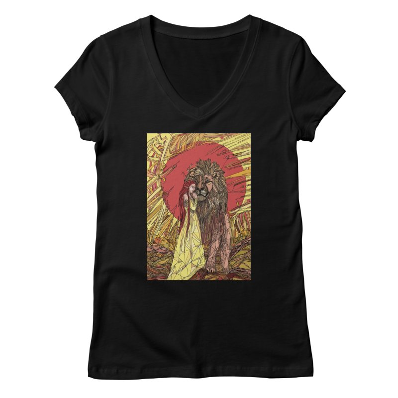 lion sign Women's V-Neck by Eii's Artist Shop