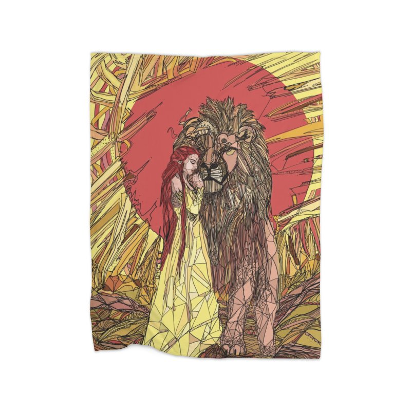 lion sign Home Fleece Blanket Blanket by Eii's Artist Shop