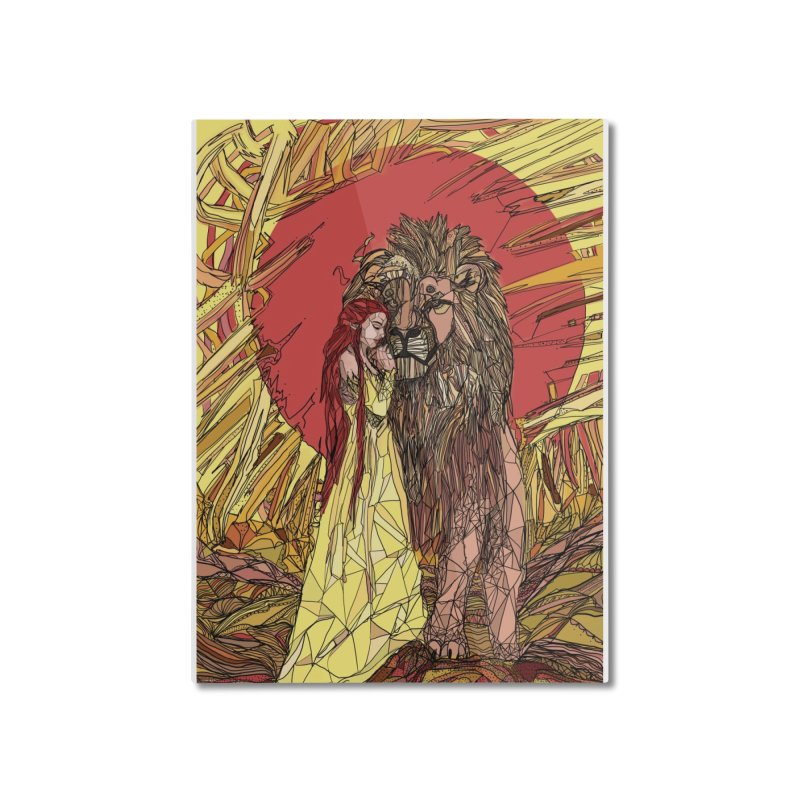 lion sign Home Mounted Aluminum Print by Eii's Artist Shop