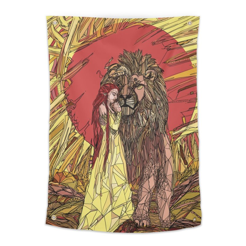lion sign Home Tapestry by Eii's Artist Shop