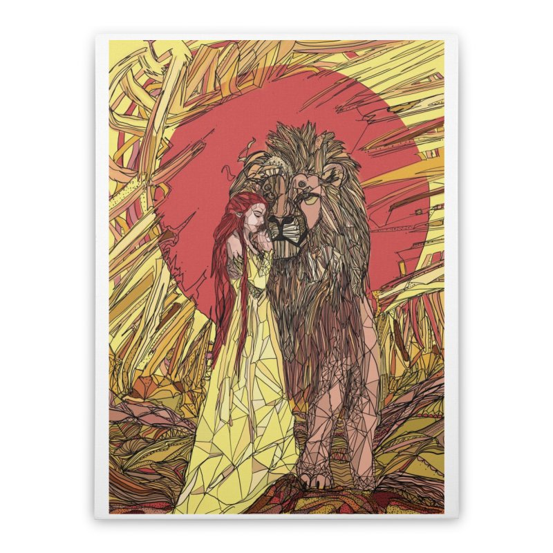 lion sign Home Stretched Canvas by Eii's Artist Shop
