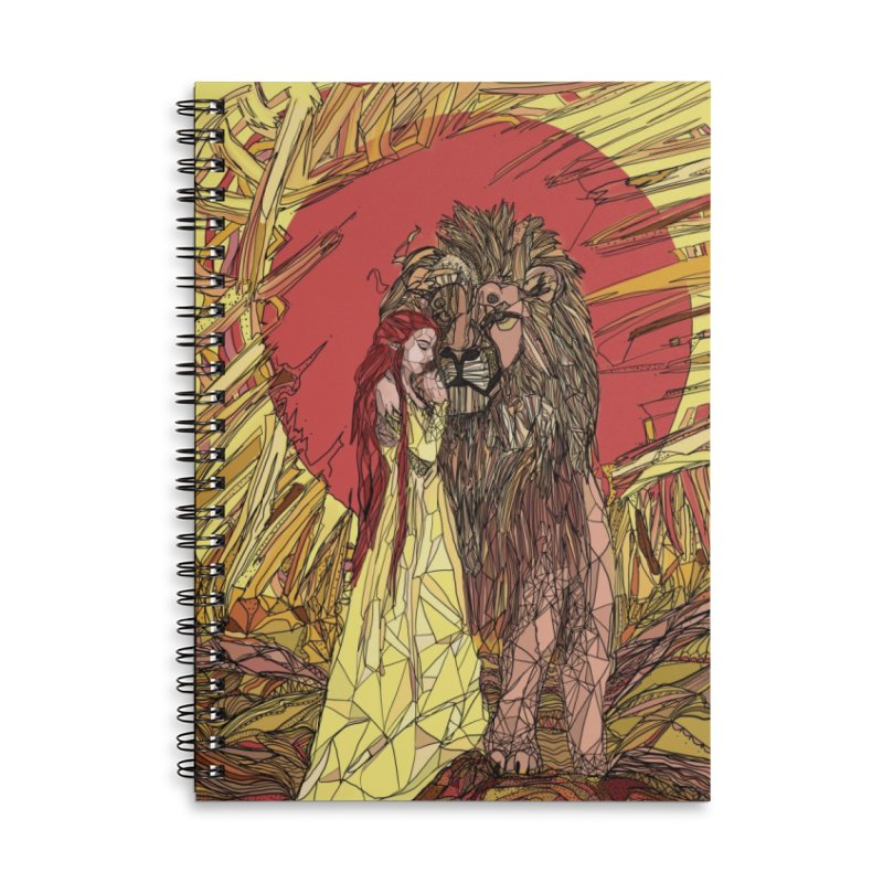 lion sign Accessories Lined Spiral Notebook by Eii's Artist Shop