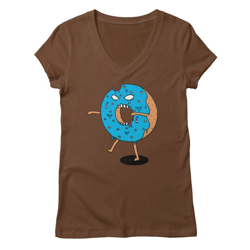 Walking Donut Women's V-Neck by eikwox's Artist Shop