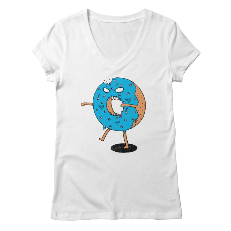 Walking Donut Women's Regular V-Neck by eikwox's Artist Shop