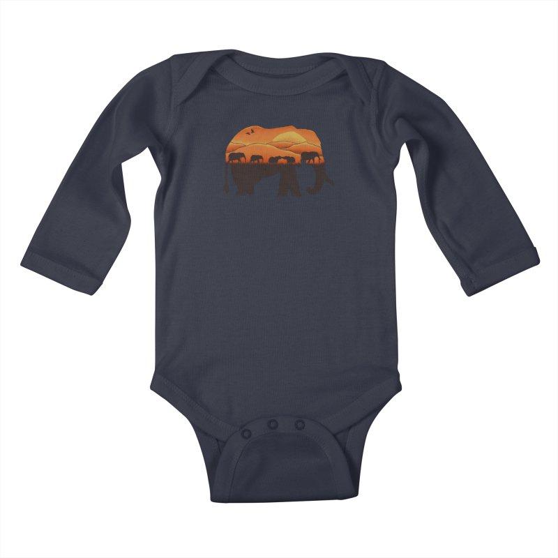 African Elephant Kids Baby Longsleeve Bodysuit by eikwox's Artist Shop