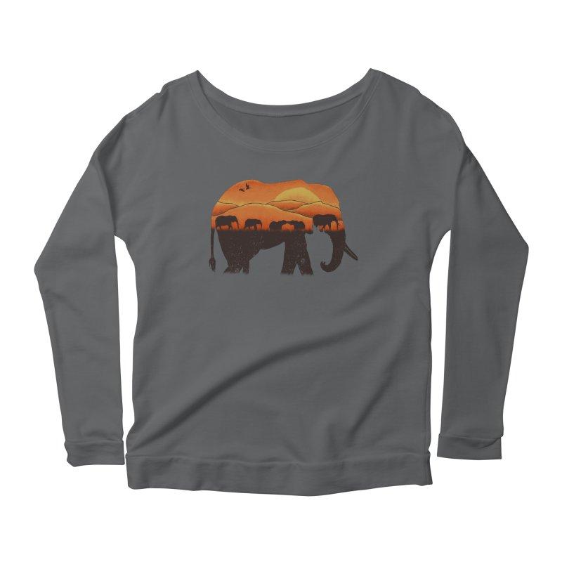 African Elephant Women's Longsleeve Scoopneck  by eikwox's Artist Shop