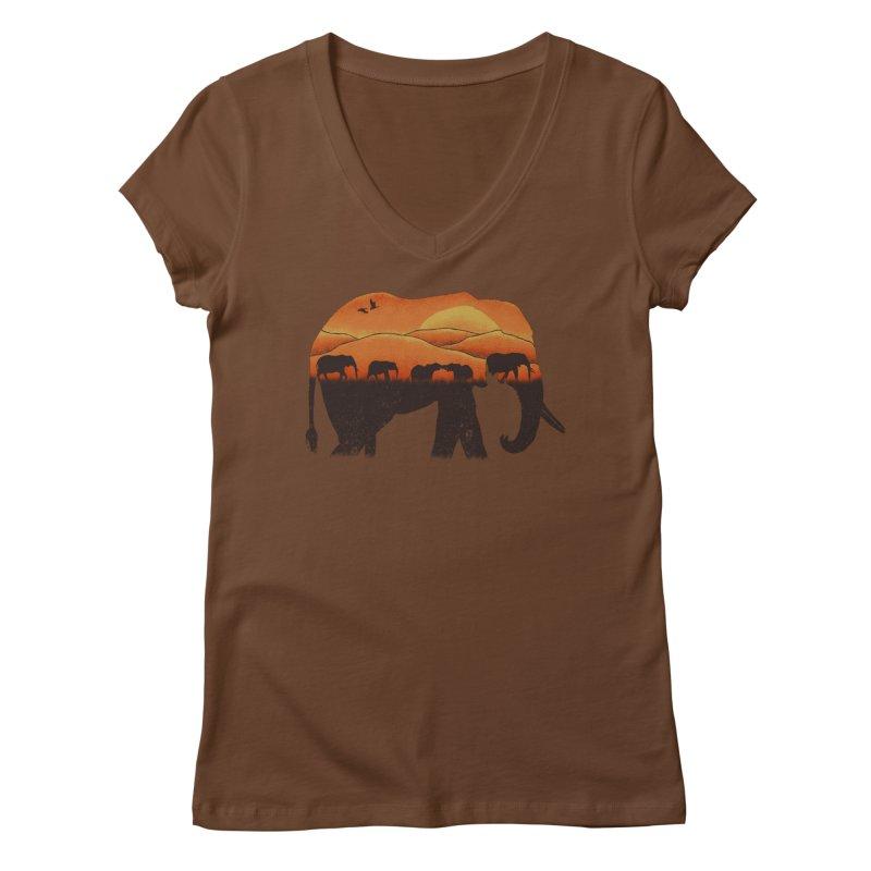 African Elephant Women's V-Neck by eikwox's Artist Shop