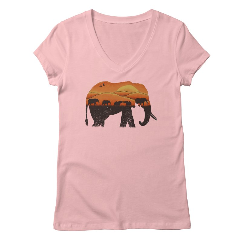 African Elephant Women's V-Neck by eikwox's Artist Shop