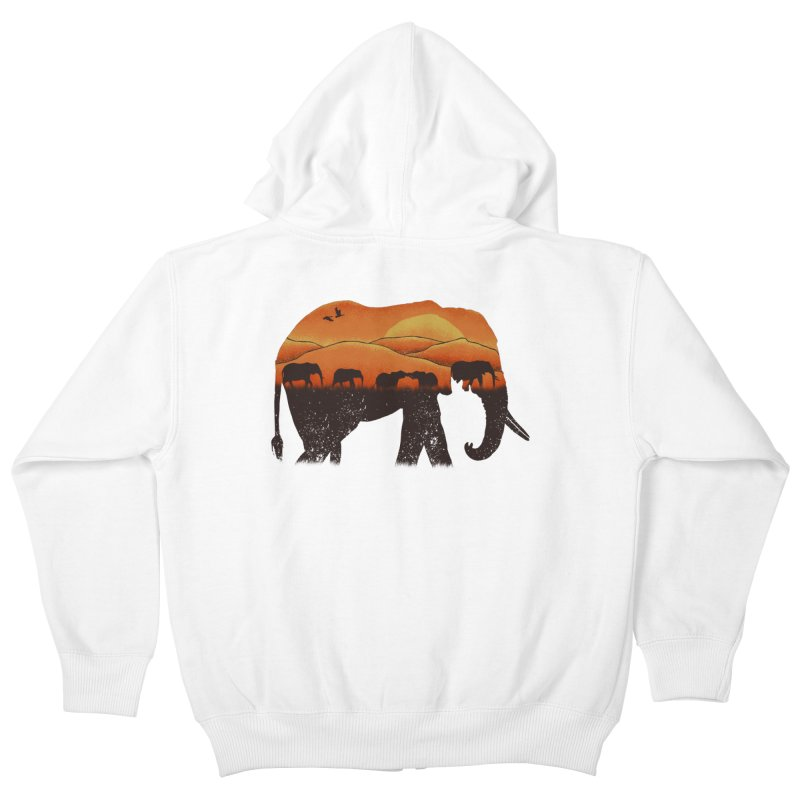 African Elephant Kids Zip-Up Hoody by eikwox's Artist Shop