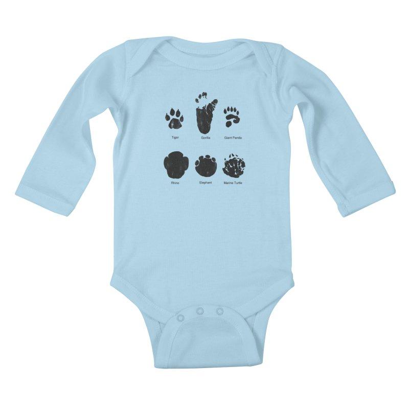 Animal Tracks Kids Baby Longsleeve Bodysuit by eikwox's Artist Shop