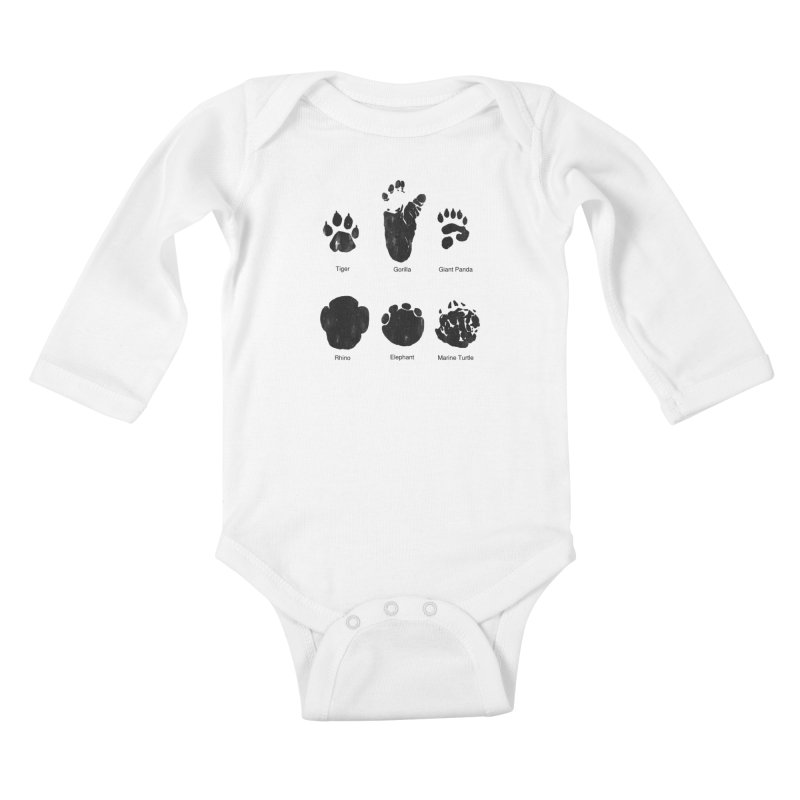 Animal Tracks Kids Baby Longsleeve Bodysuit by eikwox's Artist Shop