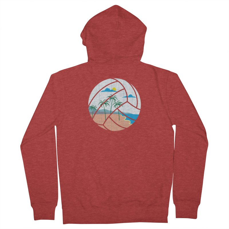 Beach Volleyball Men's French Terry Zip-Up Hoody by eikwox's Artist Shop