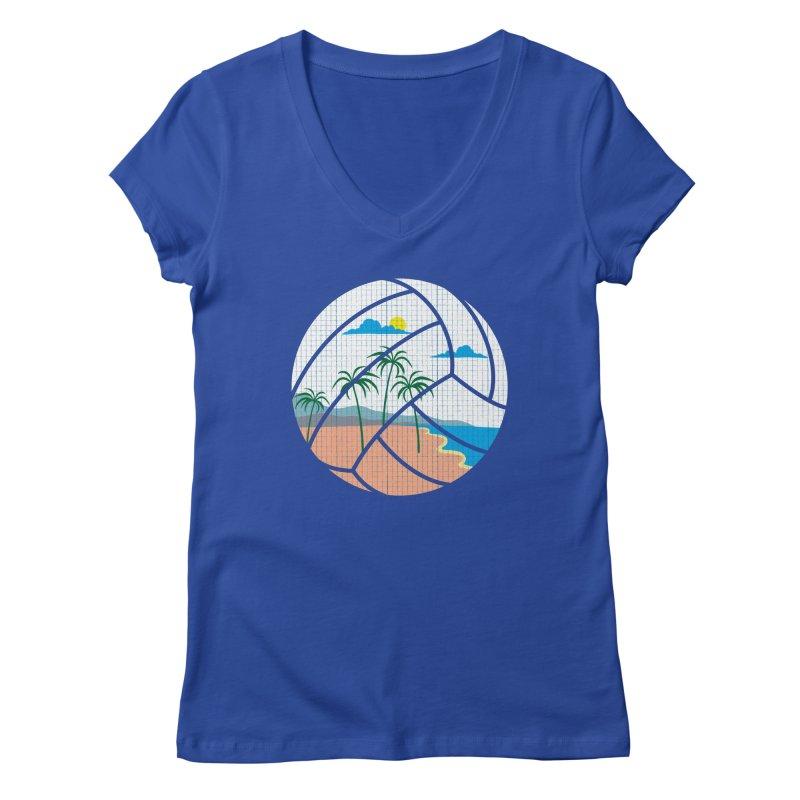 Beach Volleyball Women's V-Neck by eikwox's Artist Shop