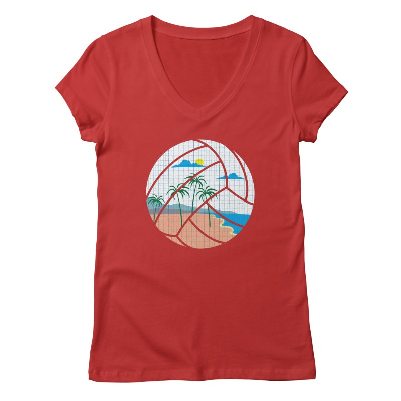 Beach Volleyball Women's V-Neck by eikwox's Artist Shop