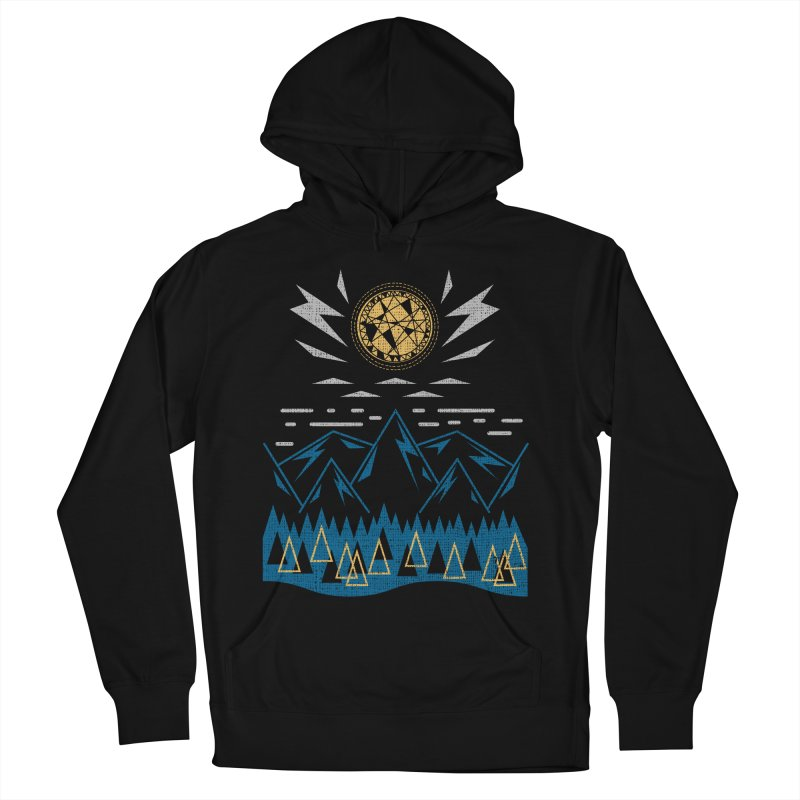 Sun Strike Over the Mountains Men's French Terry Pullover Hoody by Elcorette