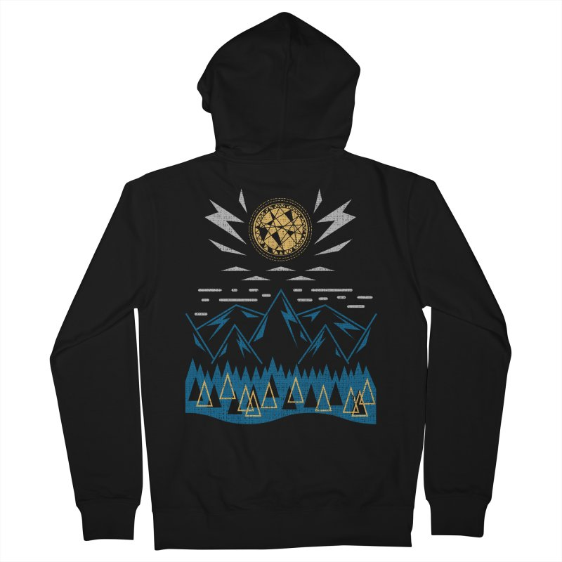 Sun Strike Over the Mountains Men's Zip-Up Hoody by Elcorette